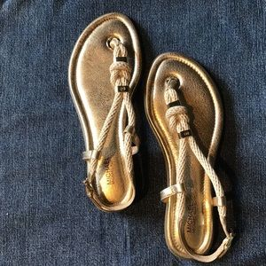 Michael Kors gold Holly rope flat thong Sandals